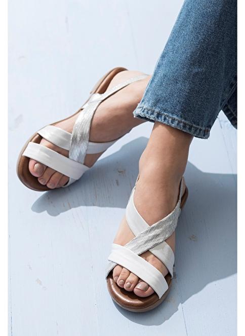Elle Deri Sandalet Beyaz